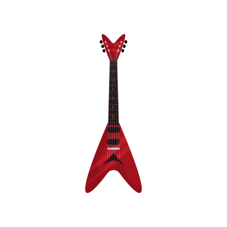 Red electric guitar musical instrument vector Illustration isolated on a white background.