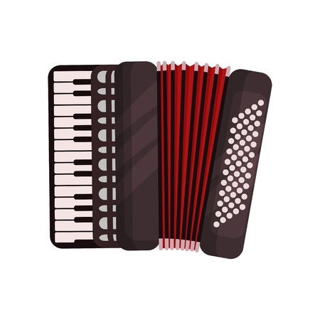 Accordion musical instrument vector Illustration isolated on a white background.