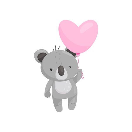 Cartoon icon of adorable koala with bright pink heart-shaped balloon. Cartoon character of wild animal. Love theme. Element for children book or postcard. Flat vector isolated on white background. Ilustração