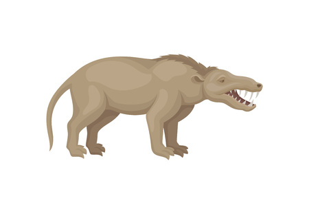 Flat vector design of mesonychia. Prehistoric beast with long tail and sharp teeth. Wild extinct animal from ice age Illustration
