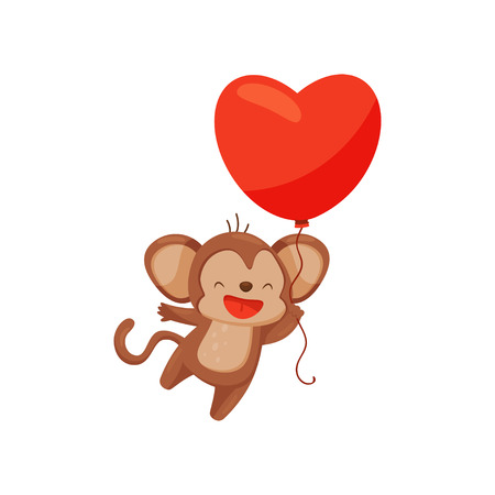 Funny brown monkey with bright red balloon in shape of heart. Adorable animal. Cute cartoon character. Graphic element for greeting card. Vector illustration in flat style isolated on white background Illustration