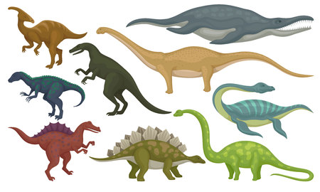 Flat vector set of prehistoric animals. Dinosaurs and sea monsters. Wild creatures from Jurassic period Illustration