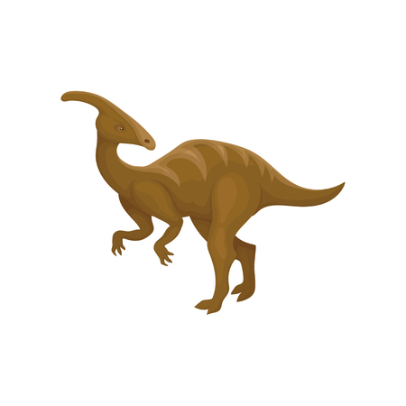 Flat vector design of brown parasaurolophus. Prehistoric animal. Dinosaur with long tail and crest on head