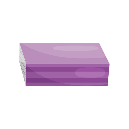 Icon of purple nail buffer block. Instrument for polishing fingernails. Tool for manicure. Beauty theme. Graphic element for promo poster. Colorful flat vector design isolated on white background.