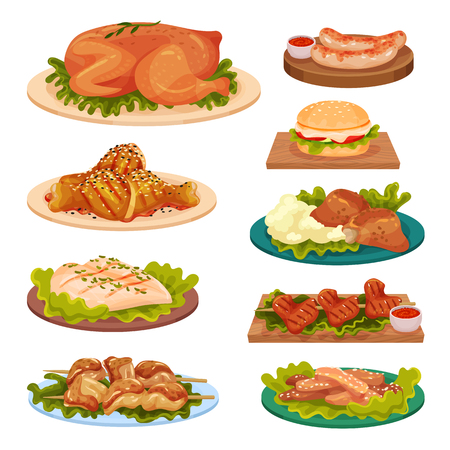 Collection of tasty poultry dishes, fried chicken meat, sausages, burger served on plates vector Illustration isolated on a white background. Illustration