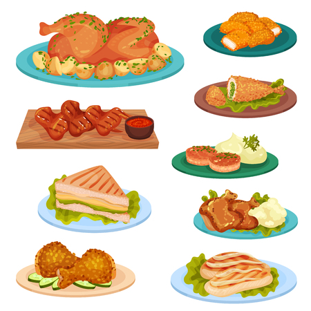 Collection of tasty poultry dishes, fried chicken meat, cutlets, sandwich served on plates vector Illustration isolated on a white background.