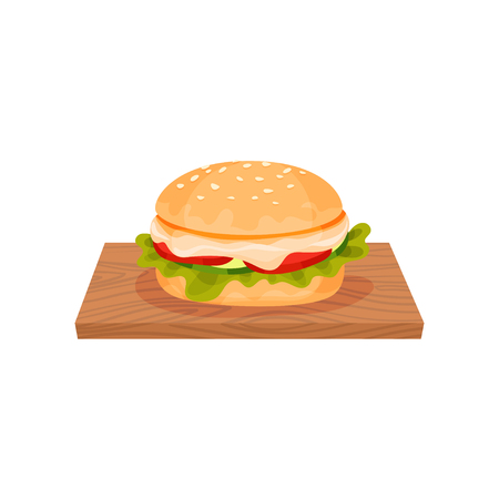 Hamburger with cheese, lettuce, chicken meat patty and bun with sesame seeds served on a wooden board vector Illustration isolated on a white background. Vectores