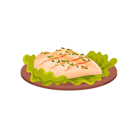 Grilled chicken meat served with lettuce leaves on a plate, tasty poultry dish vector Illustration isolated on a white background.