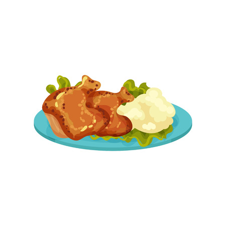 Fried chicken legs and mashed potatoes, tasty dish vector Illustration isolated on a white background.