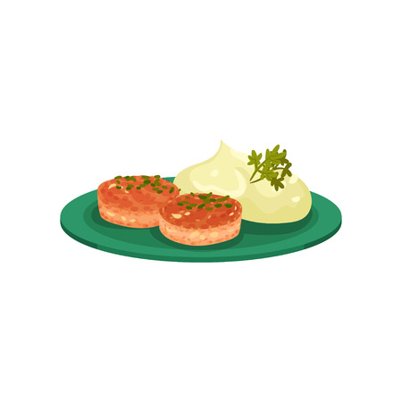 Cutlets with mashed potatoes served on a plate, tasty dish vector Illustration isolated on a white background.