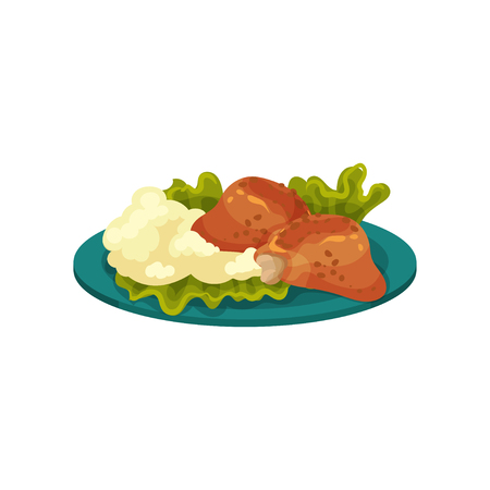 Fried chicken meat and mashed potatoes, tasty dish vector Illustration isolated on a white background.