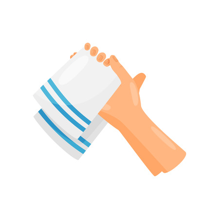 Drying hands with a towel, hygiene, health care and sanitation, prevention of infectious diseases vector Illustration isolated on a white background.