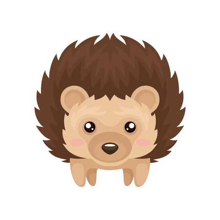 Cute hedgehog, sweet lovely prickly animal cartoon character, front view vector Illustration isolated on a white background.