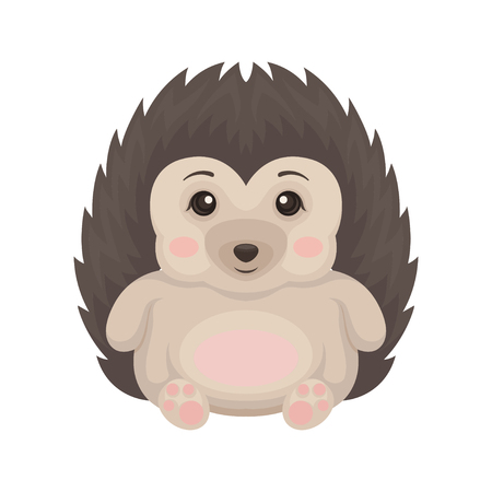 Lovely hedgehog animal cartoon character with funny face sitting on the floor vector Illustration isolated on a white background.