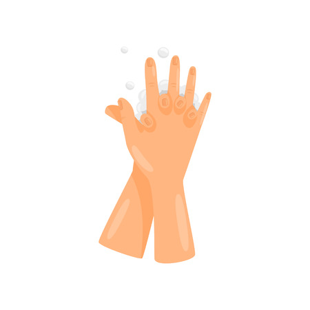 Washing hands between fingers, prevention of infectious diseases, health care and sanitation vector Illustration isolated on a white background.