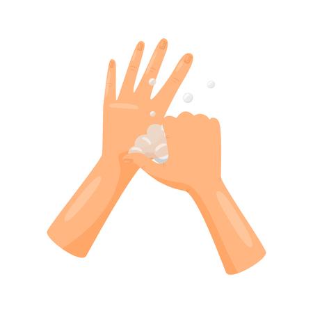 Wasbasis van duimen met zeep, hygiëne, gezondheidszorg en sanitaire voorzieningen, preventie van infectieziekten vector illustratie geïsoleerd op een witte achtergrond.