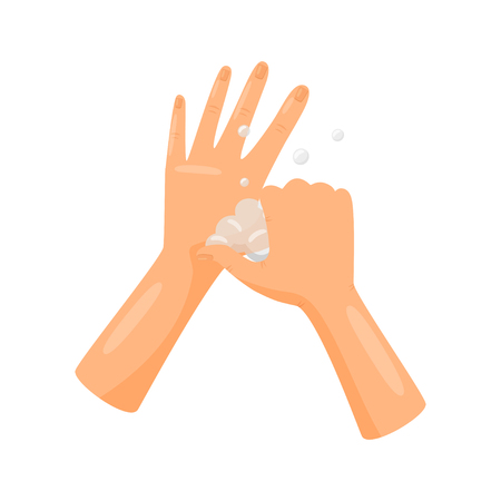 Washing base of thumbs with soap, hygiene, health care and sanitation, prevention of infectious diseases vector Illustration isolated on a white background. Stock Illustratie