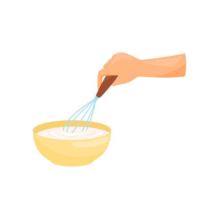 Hand cooking the dough in a bowl with a whisk vector Illustration on a white background