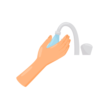 Rinsing hands with water, hygiene, health care and sanitation, prevention of infectious diseases vector Illustration isolated on a white background. Stock Illustratie