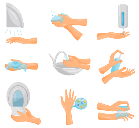 Washing hands step by step set, hygiene, prevention of infectious diseases, health care and sanitation vector Illustration isolated on a white background. Illustration