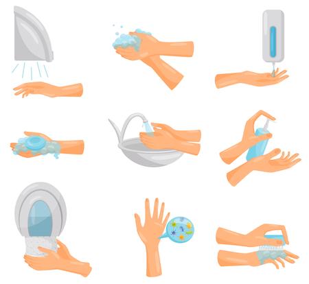 Waschen der Hände Schritt für Schritt Set, Hygiene, Prävention von Infektionskrankheiten, Gesundheitsversorgung und Hygiene-Vektor-Illustration isoliert auf weißem Hintergrund.