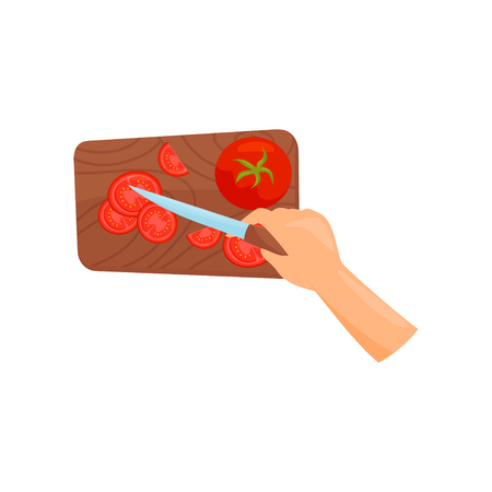 Human hands with a knife slicing ripe tomatoes on a wooden cutting board, top view vector Illustration isolated on a white background. Ilustração