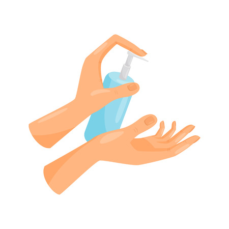 Washing hands, liquid soap pumping from bottle, hygiene, health care and sanitation, prevention of infectious diseases vector Illustration isolated on a white background. Illustration
