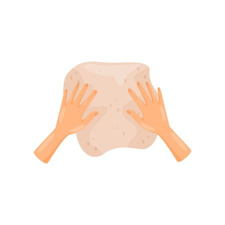 Menschliche Hände, die einen Teig kneten, Draufsichtvektor Illustration lokalisiert auf einem weißen Hintergrund.