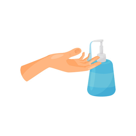 Washing hands with liquid soap, prevention of infectious diseases, health care and sanitation vector Illustration isolated on a white background.