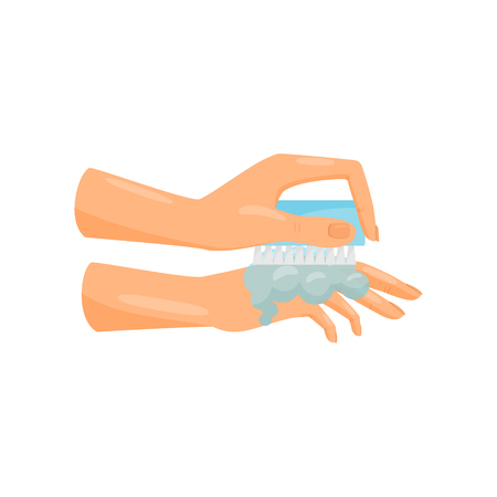 Washing hands with soap and brush, prevention of infectious diseases, health care and sanitation vector Illustration isolated on a white background.