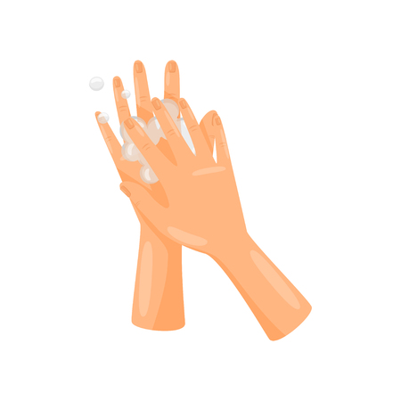 Washing between fingers with soap, hygiene, health care and sanitation, prevention of infectious diseases vector Illustration isolated on a white background.
