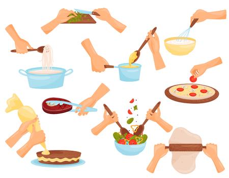 Mains, préparation des aliments, processus de cuisson des pâtes, viande, pizza, vecteur de confiserie Illustration isolée sur fond blanc.