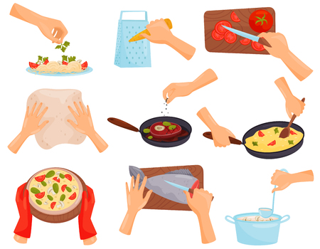 Hands preparing food, process of cooking pasta, meat, pizza, fish vector Illustration isolated on a white background.