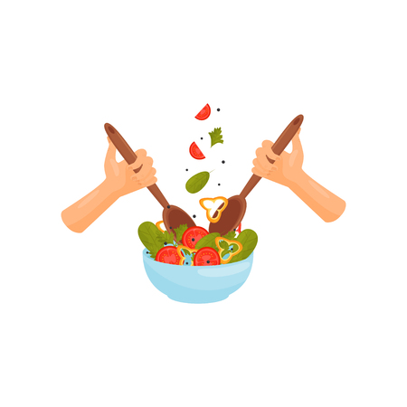 Hands with spoons cooking vegan salad, healthy organic food, bowl of salad vector Illustration isolated on a white background. Vektorové ilustrace