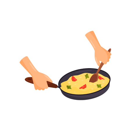 Human hands holding pan with a delicious dish, cooking process vector Illustration isolated on a white background.