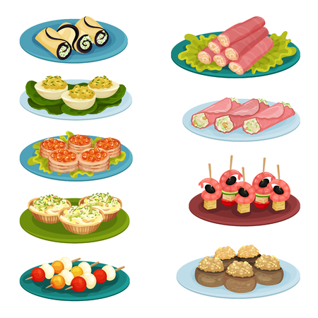 Set of different snacks. Delicious food for holiday banquet. Culinary theme. Graphic elements for cafe or restaurant menu. Colorful vector illustrations in flat style isolated on white background.