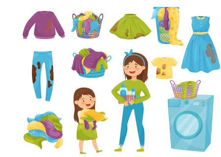 Set of elements related to laundry theme. Baskets with dirty clothes. Washing machine. Cartoon girls doing household chores. Colorful vector illustrations in flat style isolated on white background.