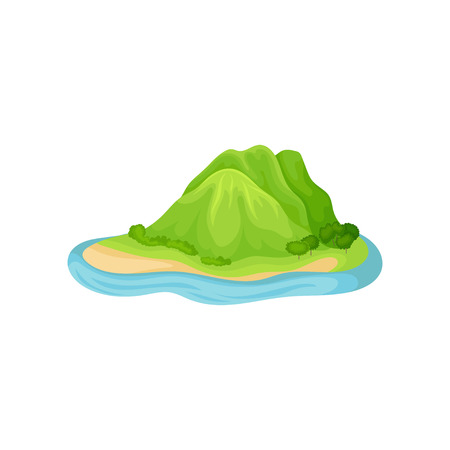Island in blue water with plants and mountain hills covered by green grass. Natural landscape element for mobile game. Cartoon vector design. Colorful flat illustration isolated on white background.  イラスト・ベクター素材