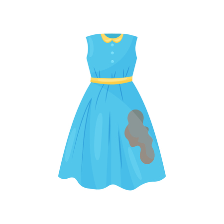 Cartoon illustration of beautiful blue dress with brown coffee spot. Casual woman clothes. Dirty garment for washing. Laundry theme. Colorful vector icon in flat style isolated on white background.