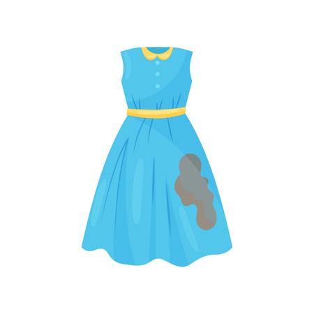 Karikaturillustration des schönen blauen Kleides mit braunem Kaffeefleck. Lässige Frauenkleidung. Schmutziges Kleidungsstück zum Waschen. Thema Wäsche waschen. Bunte Vektorikone im flachen Stil lokalisiert auf weißem Hintergrund.