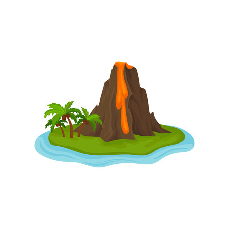 Vulkan auf kleiner grüner Insel, umgeben von Wasser. Heiße Lava fließt aus Bergfelsen. Grafisches Element für Online-Handyspiel. Bunte Vektorillustration im flachen Stil lokalisiert auf weißem Hintergrund
