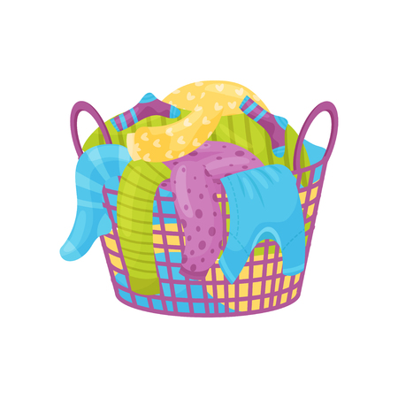 Purple plastic basket with handles full of dirty laundry. Socks, t-shirts and sweaters for washing. Household theme. Colorful flat design isolated on white background. Cartoon vector illustration.