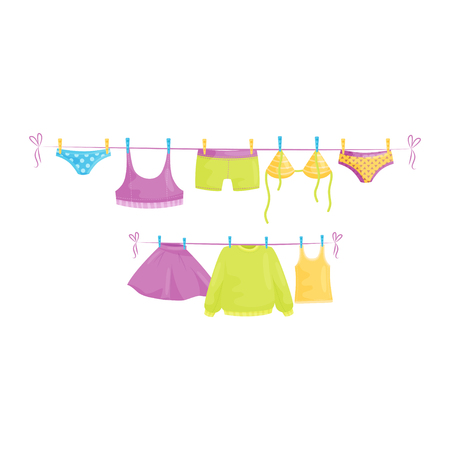 Clean clothes hanging on ropes underpants, swimwear, woolen sweater, tops and skirt. Female garment. Laundry theme. Cartoon vector illustration. Colorful flat design isolated on white background.