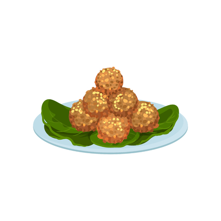Illustration of plate with fried meat balls. Delicious snacks. Food theme. Graphic element for recipe book or cafe menu. Colorful icon in flat style isolated on white background. Cartoon vector design Ilustração