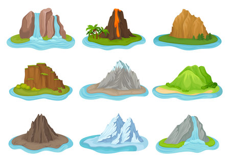 Set of different mountains and waterfalls. Small islands surrounded by water. Natural landscape. Flora theme. Cartoon vector design. Colorful illustration in flat style isolated on white background.