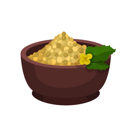 Seeds of mustard, small flower and green leaves in brown ceramic bowl. Natural spice. Cooking ingredient. Graphic element for culinary book. Colorful flat vector design isolated on white background.