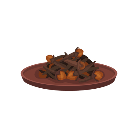 Heap of cloves in brown ceramic plate. Cooking ingredient. Dried flower buds of tropical tree. Aromatic spice. Culinary theme. Colorful vector illustration in flat style isolated on white background. Illustration
