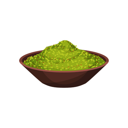 Green marjoram powder in brown ceramic bowl. Natural spice for dishes. Cooking ingredient. Culinary theme. Graphic element for recipe book. Flat vector illustration isolated on white background. Illustration