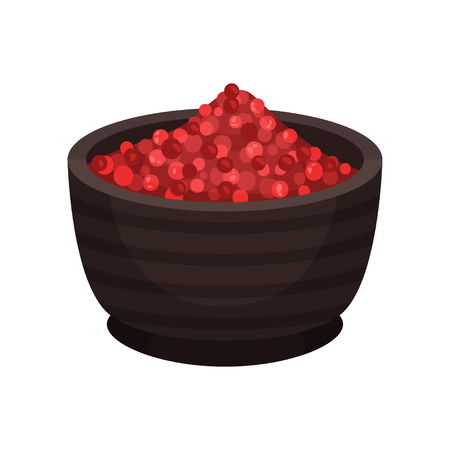 Cartoon icon of brown bowl with pink peppercorn. Natural spice. Cooking ingredient. Graphic element for poster or culinary book. Colorful vector illustration in flat style isolated on white background