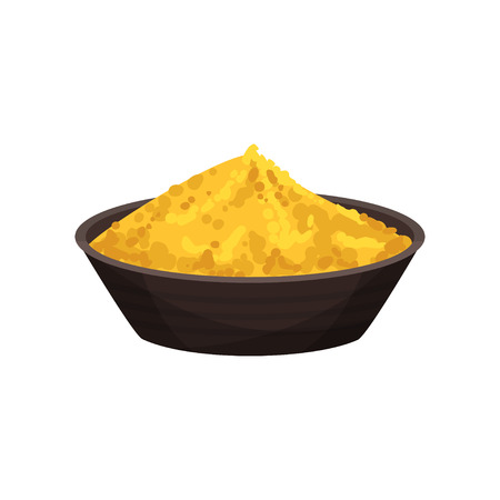 Bright orange turmeric powder in ceramic bowl. Spicy condiment for dishes. Natural cooking ingredient. Graphic element for culinary book. Colorful flat vector illustration isolated on white background
